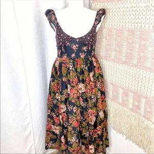 Free People Love You Black Floral Midi Dress Large